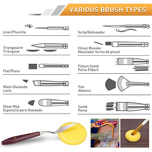 18 Pack Paint Brushes for Acrylic Painting on Canvas,