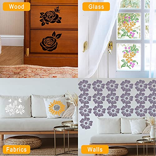 24 Pieces Flower Stencils Kit for Painting On Wood Canvas,