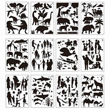 12 Pcs Large Stencils for Painting Include Love Patterns
