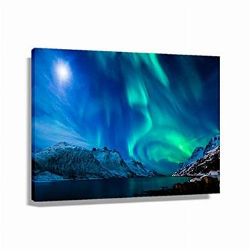 Colored Northern Lights Family Landscape Poster Wall Art
