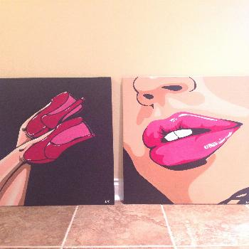 Pop art lips and heels duo. Acrylic painting in canvas.