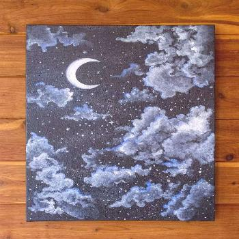 Serene Night Sky Starry and Cloudy Moon Painting Acrylic   Etsy