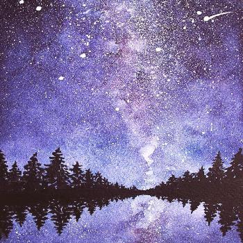 watercolor night star sky Buy beautiful galaxy painting from  with free shipping to your door.