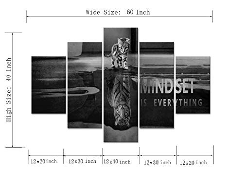 5 Panels Inspiration Wall Art Picture Creative Small Cat Big
