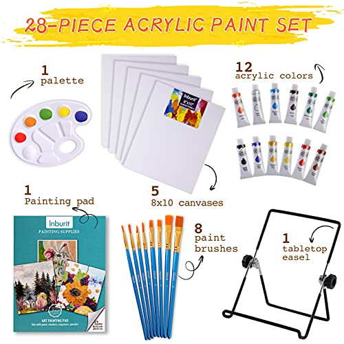 Art Paint Set for Kids, Painting Supplies Kit with 5 Canvas