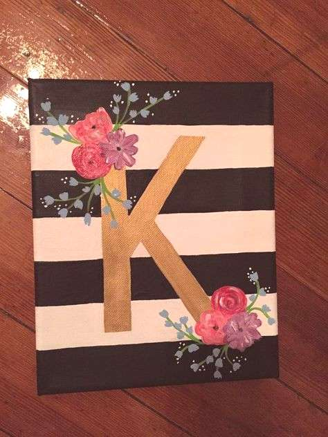Floral Letter Canvas by CharmingCanvases on Etsy