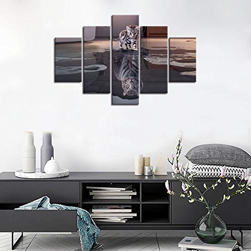 Large 5 Panels Cat Tiger Canvas Painting Inspiration Wall