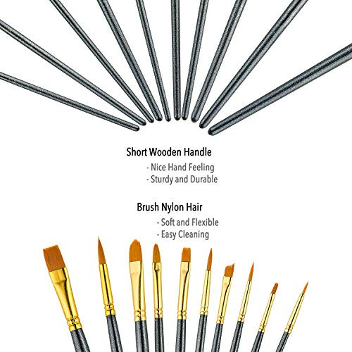 Paint Brush Set by heartybay, 10 pcs Nylon Hair Brushes for