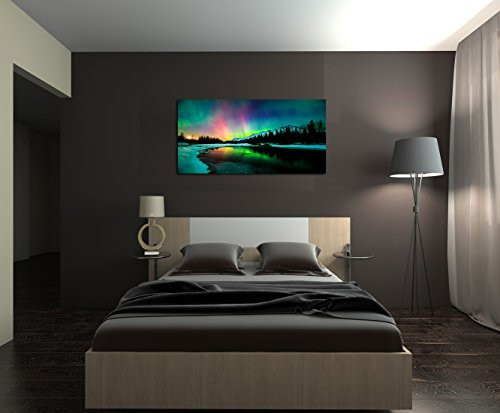 S01950 Wall Art Aurora scenery Painting on Canvas Stretched