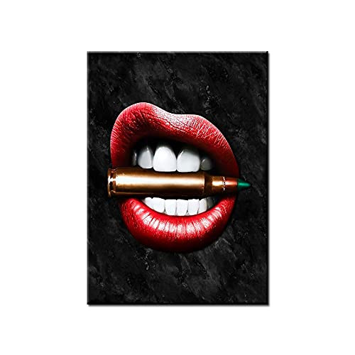 Sexy Lip Wall Art Canvas Prints Red Lips With Bullet Lips
